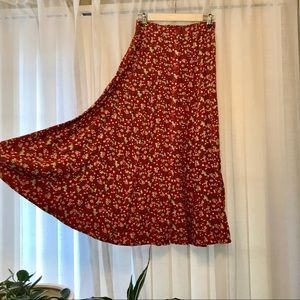 Vintage Floral Express Midi Skirt